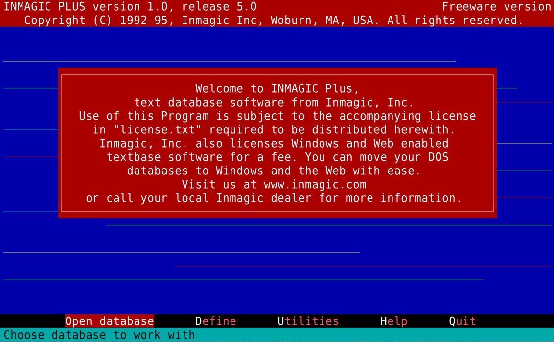 Screen shot of Inmagic